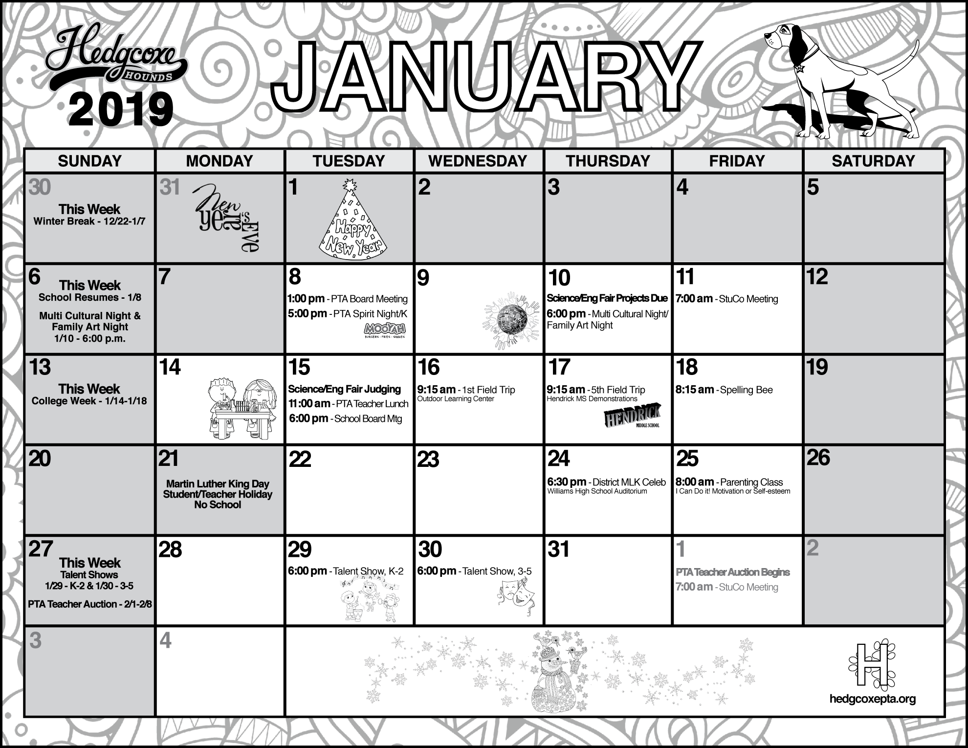PTA and School January 2019 Calendar